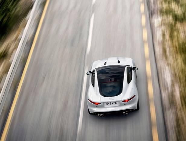 jaguar f-type coupé 2014 weiss hinten oben