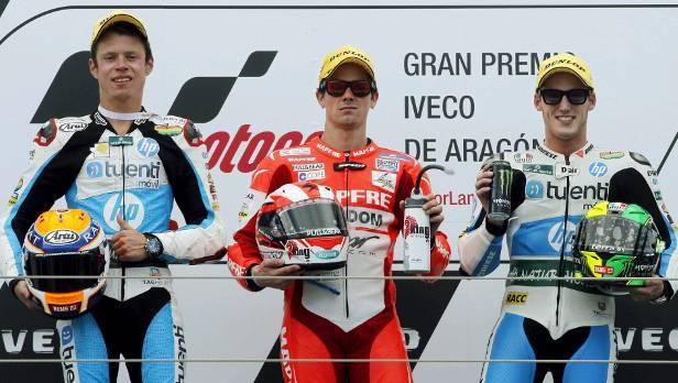 Die Spanier Terol, Espargaro und Rabat nach dem GP von Aragon - inzwischen steht Espargaro als Weltmeister fest, Terol holte in Valencia den Tagessieg.