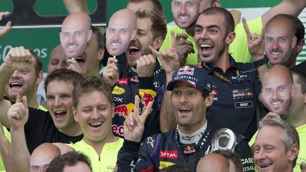 Das Red-Bull-Team feiert in Sao Paulo