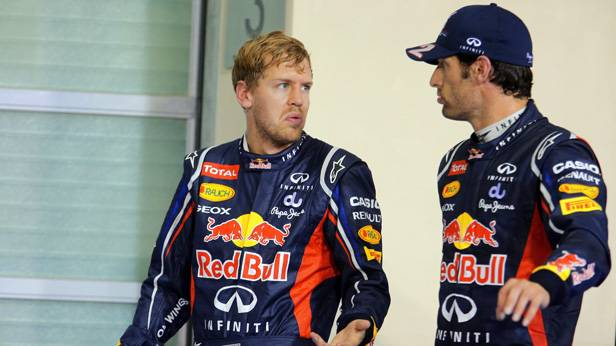 Sebastian Vettel und Mark Webber 2012 in Abu Dhabi
