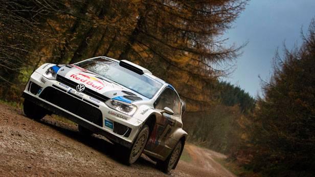 Sebastien Ogier in seinem VW Polo R WRC bei der Rallye in Wales