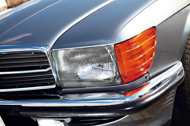 Mercedes r107 blau kaufberatung kotflügel Scheinwerfer