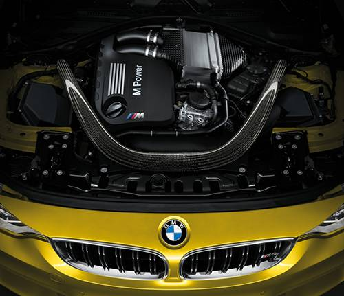 bmw m3 2014 m4 2014 coupe gelb motor motorraum
