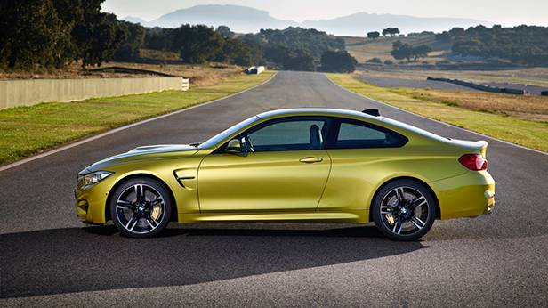 bmw m4 2014 coupe gelb seite