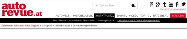 autorevue.at gebrauchtwagenbörse - Screenshot