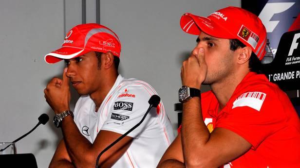 Lewis Hamilton und Felipe Massa 2008 in Brasilien