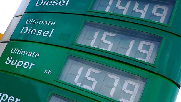 Anzeige der Spritpreise bei einer Tankstelle