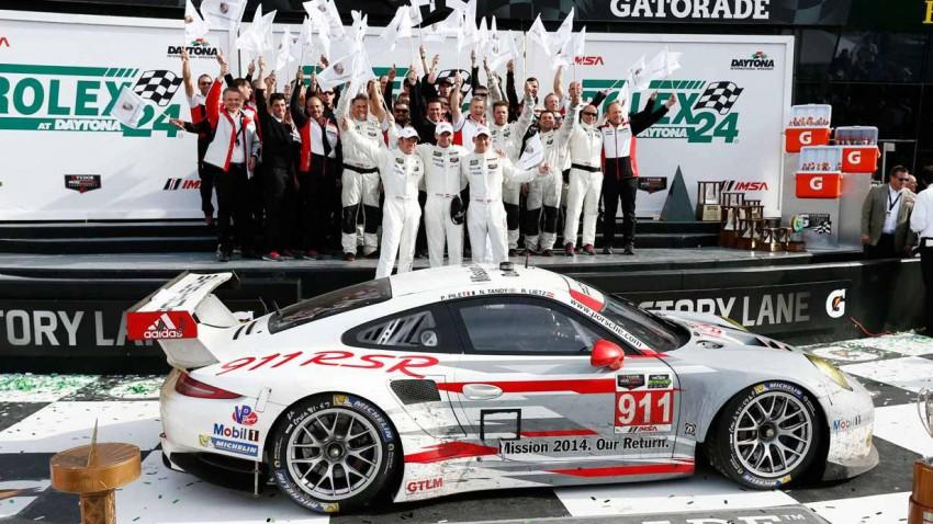 Die Siegerehrung beim 24-Stunden-Rennen von Daytona