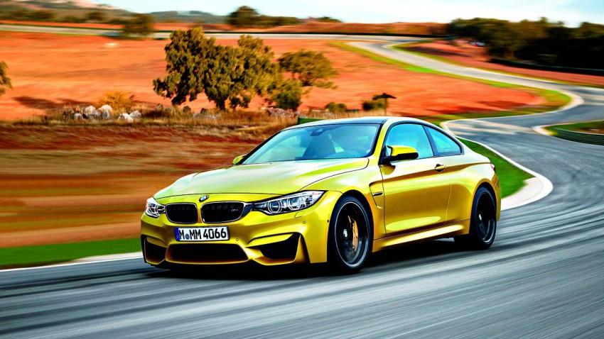 bmw m4 coupe 2014 gelb vorne seite
