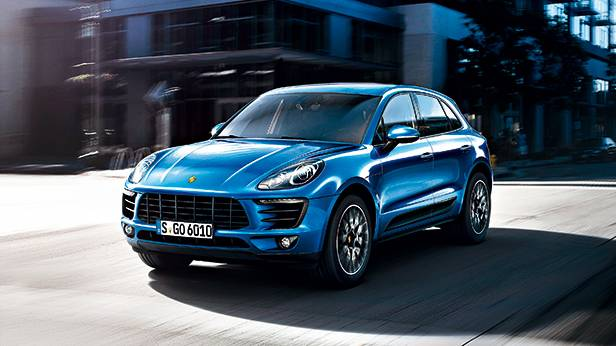 Porsche Macan 2014 blau front vorne seite
