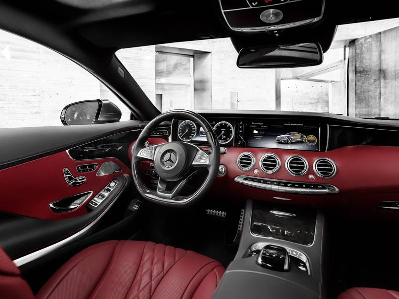 Mercedes Benz s-klasse coupe 2014 innenraum cockpit rot sitze