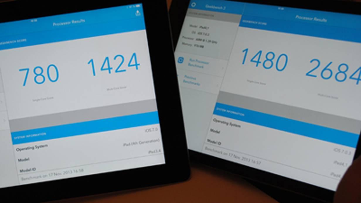 Deutlich leistungsfähiger: iPad Air (re.) beim Geekbench-Test im Vergleich zum iPad 4. © Bild: Nina Prazak