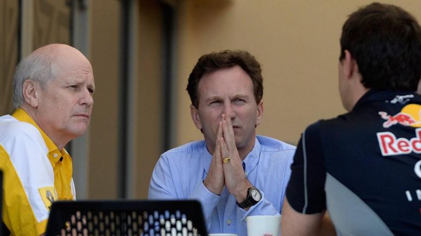 Christian Horner und Renault Sport F1 Sportchef Jean-Michel Jalinier (li.).