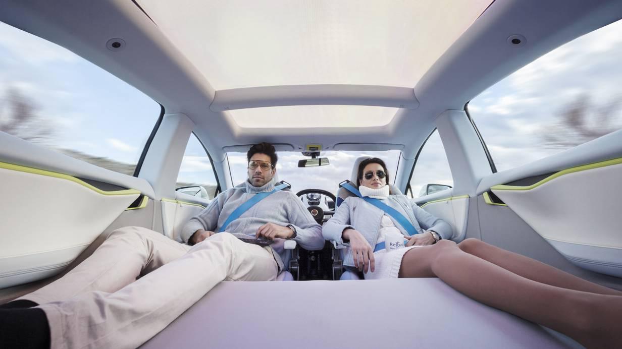 Rinspeed XchangE autonomes fahren roboterauto Tesla model s