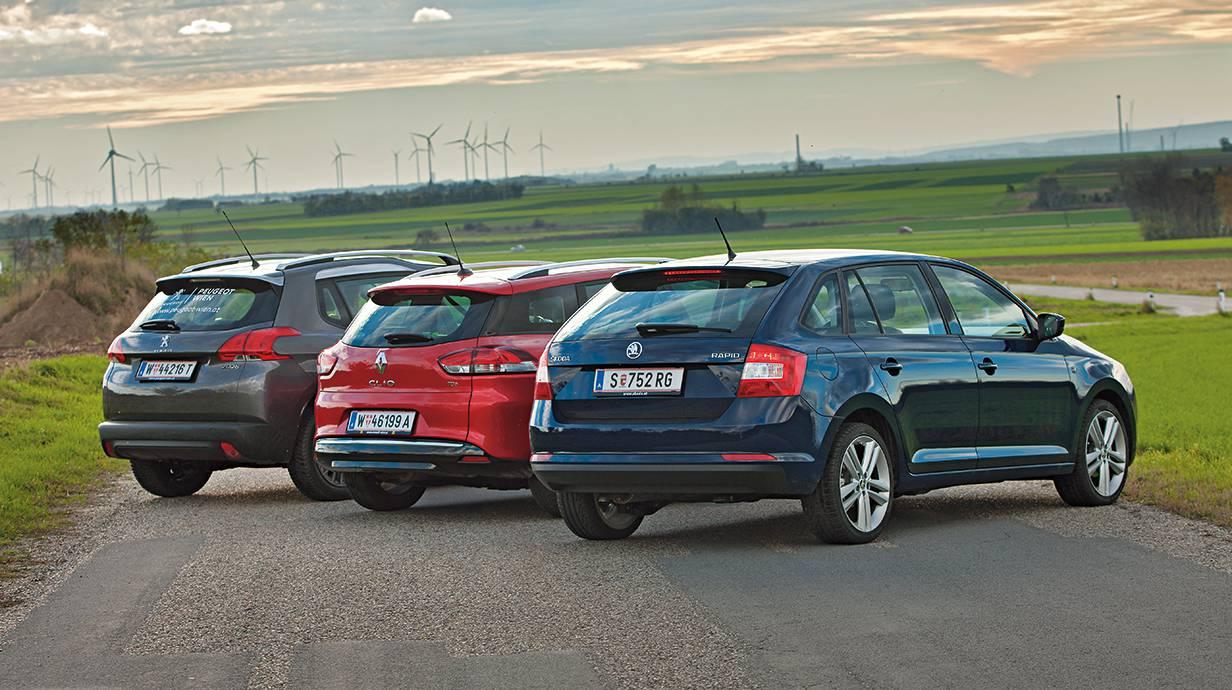 Dimensionen Skoda und Renault sind etwa gleich lang, breit, hoch. Der Peugeot (ganz hinten) ist höher, breiter, kürzer.