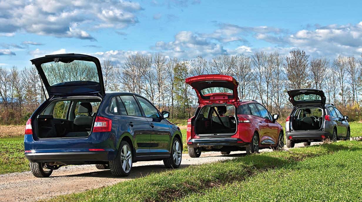KOFFER, BITTE! Kleine Öffnung beim Skoda, am größten beim Peugeot (ganz hinten).