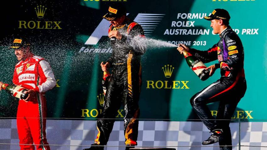 Die F1-Siegerehrung in Melbourne 2013