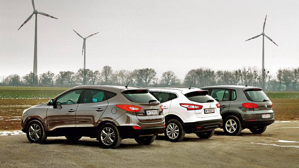 vergleich nissan Qashqai_vw Tiguan Hyundai ix35 hinten