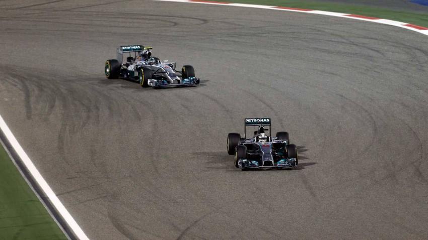 Hamilton und Rosberg beim GP von Bahrain 2014