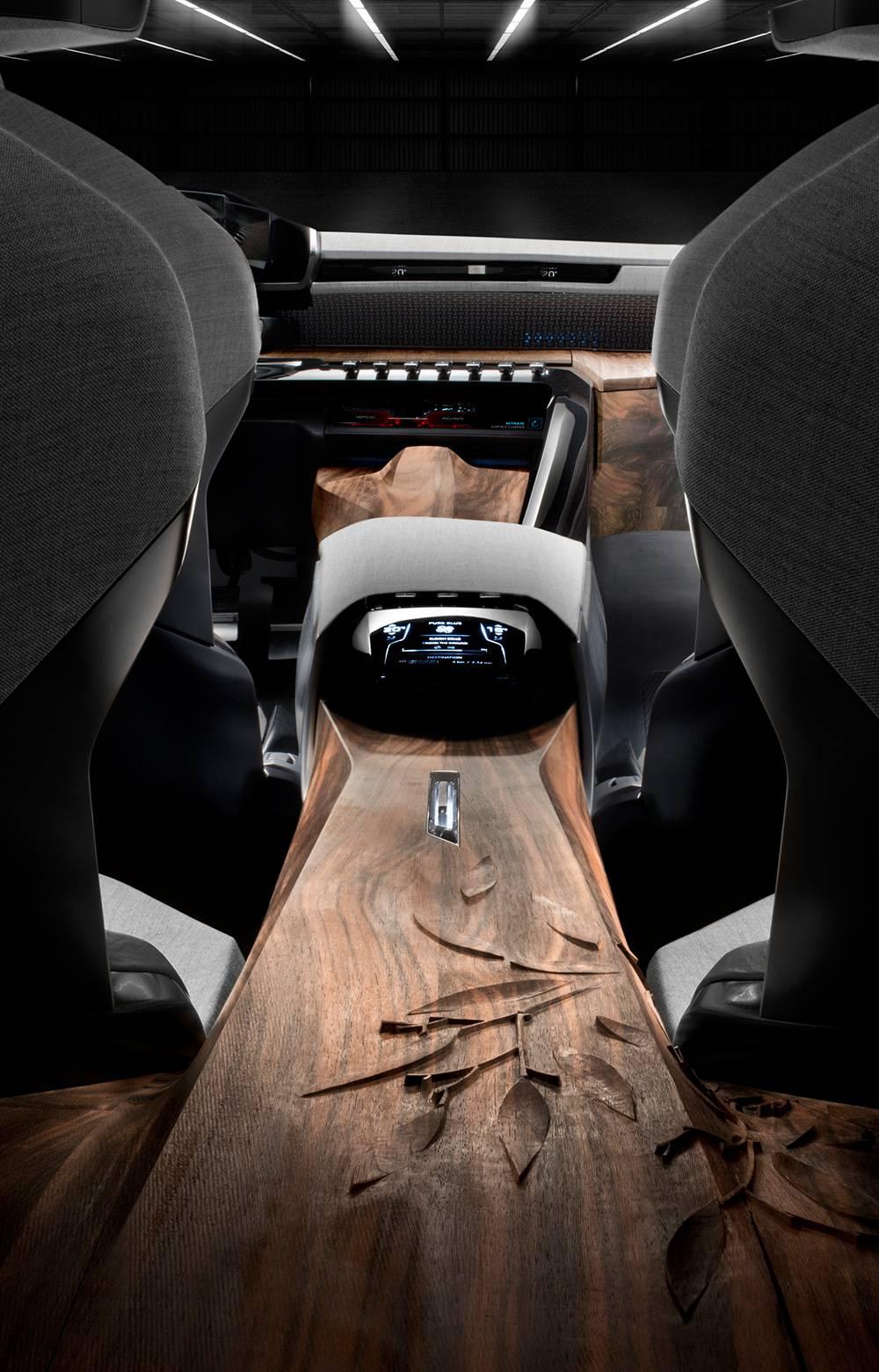 peugeot exalt concept 2014 peking motorshow mittelkonsole holz