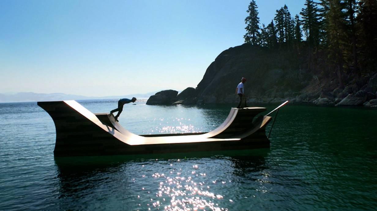 Schwimmende Skaterrampe Kalifornien Lake Tahoe Kalifornien Bob Burnquist