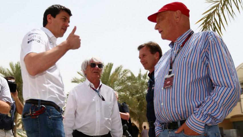 Wolff, Ecclestone, Horner und Lauda