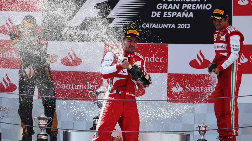 Die Siegerehrung des GP Spanien 2013