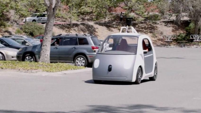 Das der erste Prototyp von Googles eigenem selbstfahrendem Auto.