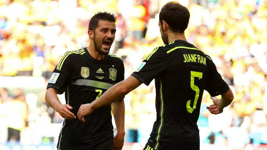 Man of the match: David Villa nach dem ersten Tor für Spanien in der 36. Minute. © Cameron Spencer/Getty Images