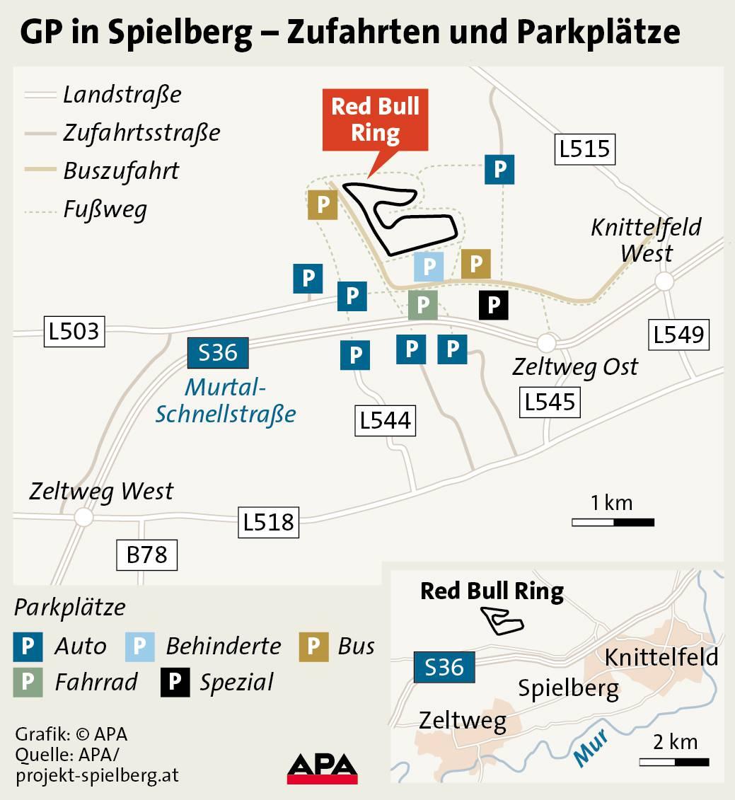 sp österreich spielberg anfahrt parkplatze