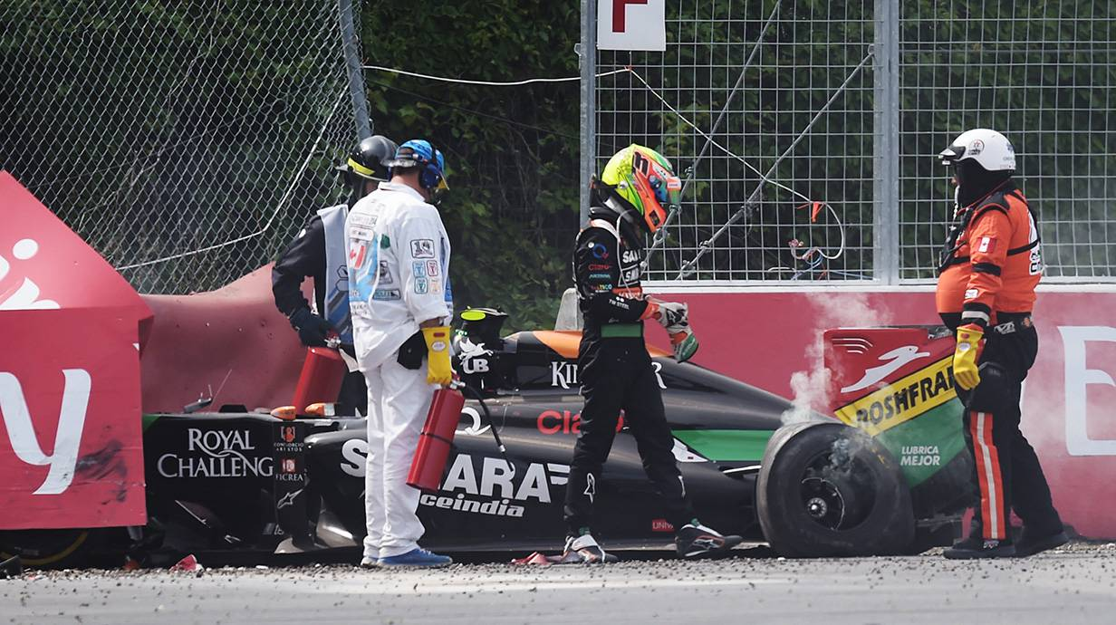 perez crash gp kanada formel 1