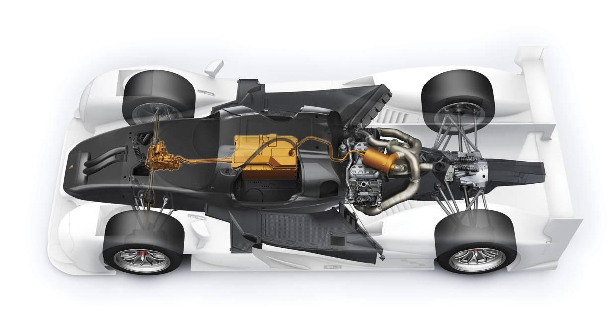 Porsche 919 Hybrid Antriebsstrang V4 Turbo Mittelmotor Skizze Chassis
