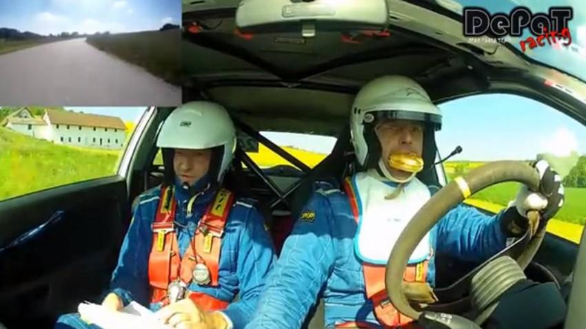 Rallyefahren in Österreich Wurstsemmerl am Steuer essen