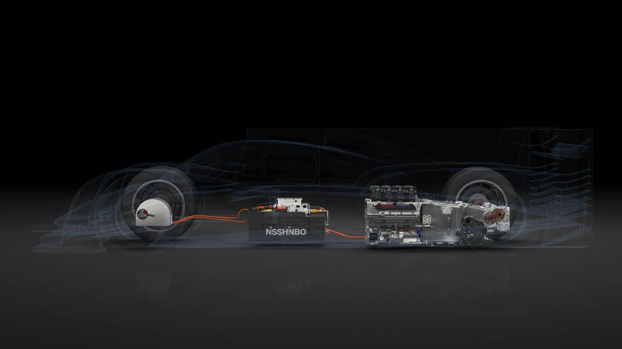 Toyota TS040 V8 Hybrid Antriebsstrang Skizze Le Mans 2014