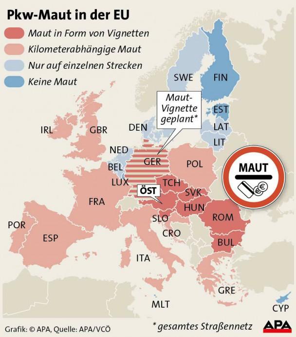 APA Grafik zur Pkw-Maut in der EU