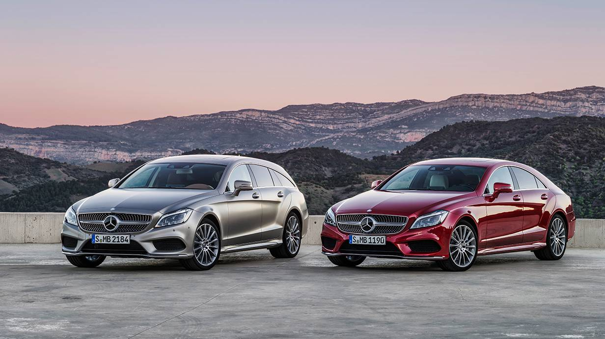neuer Mercedes-benz cls 2014 coupe shooting brake vorne seite silber rot