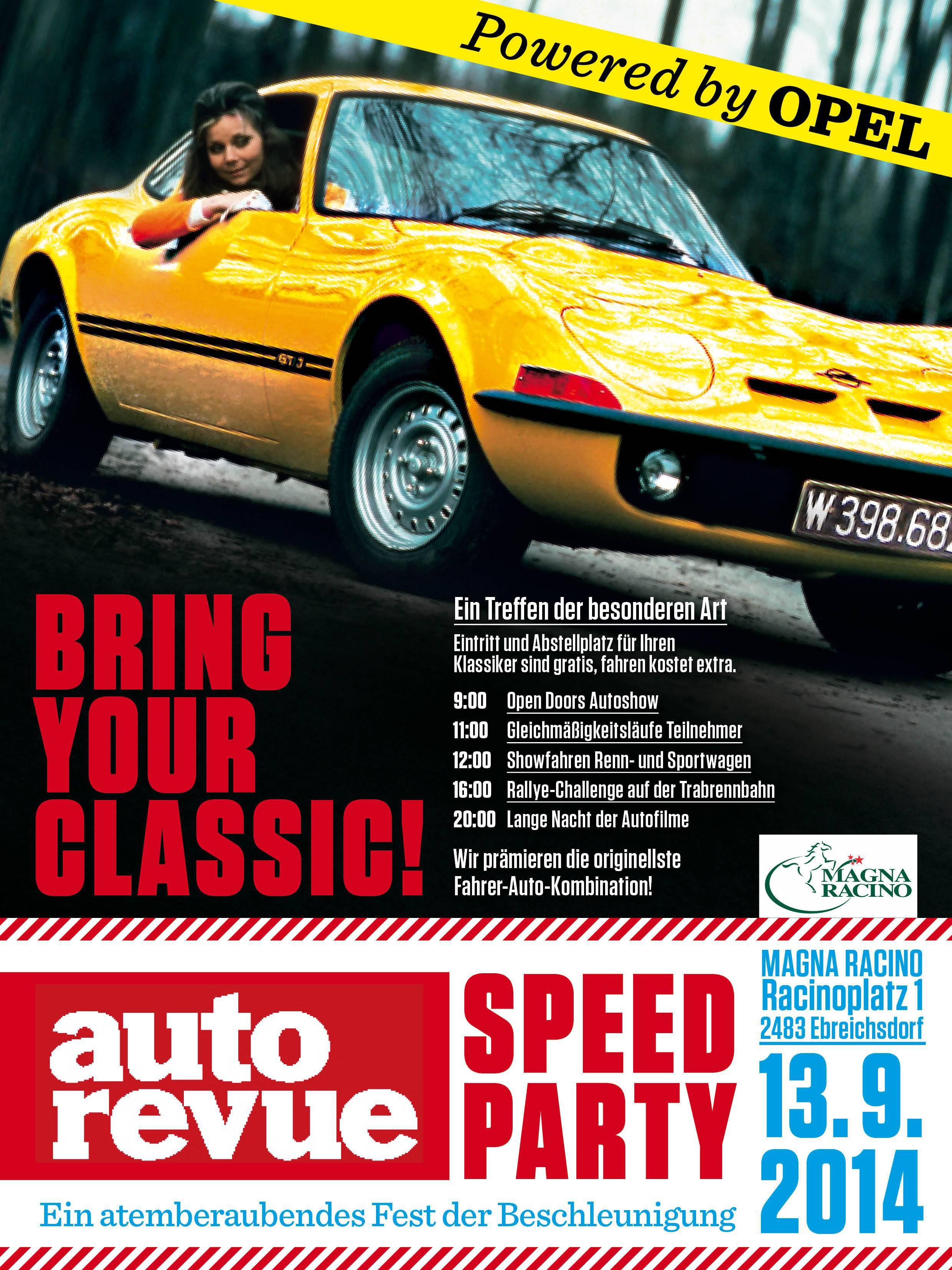 Autorevue Speed Party Anmeldung ANmeldeschluss