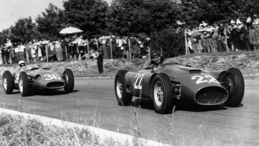 Fangio und Moss beim GP Italien 1956 in Monza