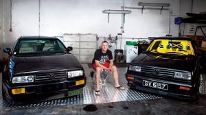 VW Corrado, 1993 (links) Kaufpreis: 2010 gegen einen 5er Golf R32 getauscht. Leistung: 485 PS Schätzwert 2014: 43.000 Euro.