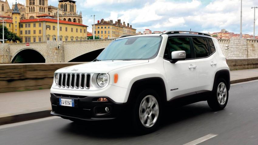 jeep rengade 2014 weiß vorne front seite scheinwerfer felgen