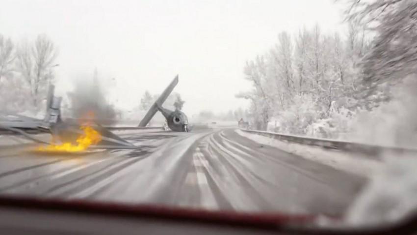 TIE Fighter Crash Filmed on A3 Highway in Germany