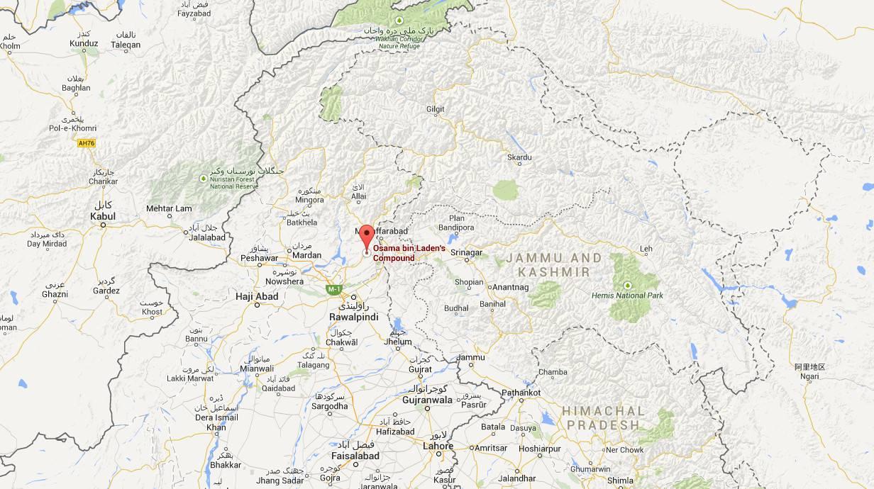 Osama Bin Ladens Anwesen in Abbottabad, in dem er im Mai 2011 erschossen wurde, ist auf Google Maps zu sehen. Die Location hat nach 1.500 Erfahrungsberichten eine Bewertung von 3,2.