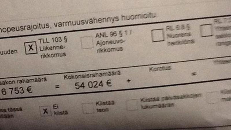 Finne fuhr 23 km/h zu schnell... und kassierte einen 54.000 Euro-Strafzettel!