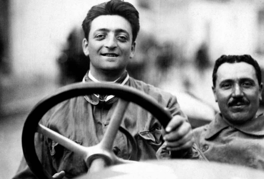 young enzo ferrari behind the wheel