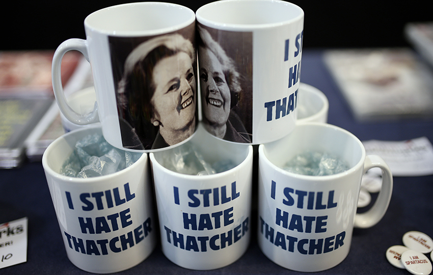 Novelty mugs are displayed for sale on a stand at the Trades Union Congress in Liverpool, northern England