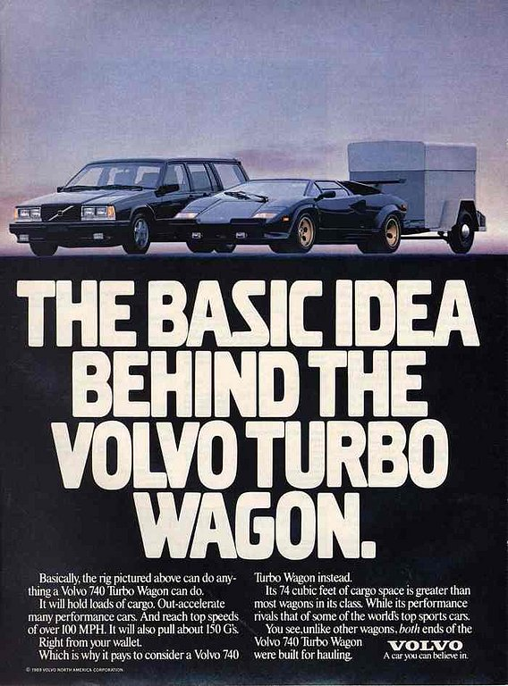 volvo 740 turbo wagon add the basic idea behind the volvo turbo wagon