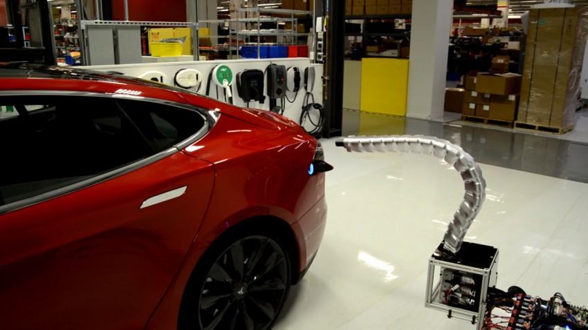 Das ist Teslas vollautomatische Lade-Schlange
