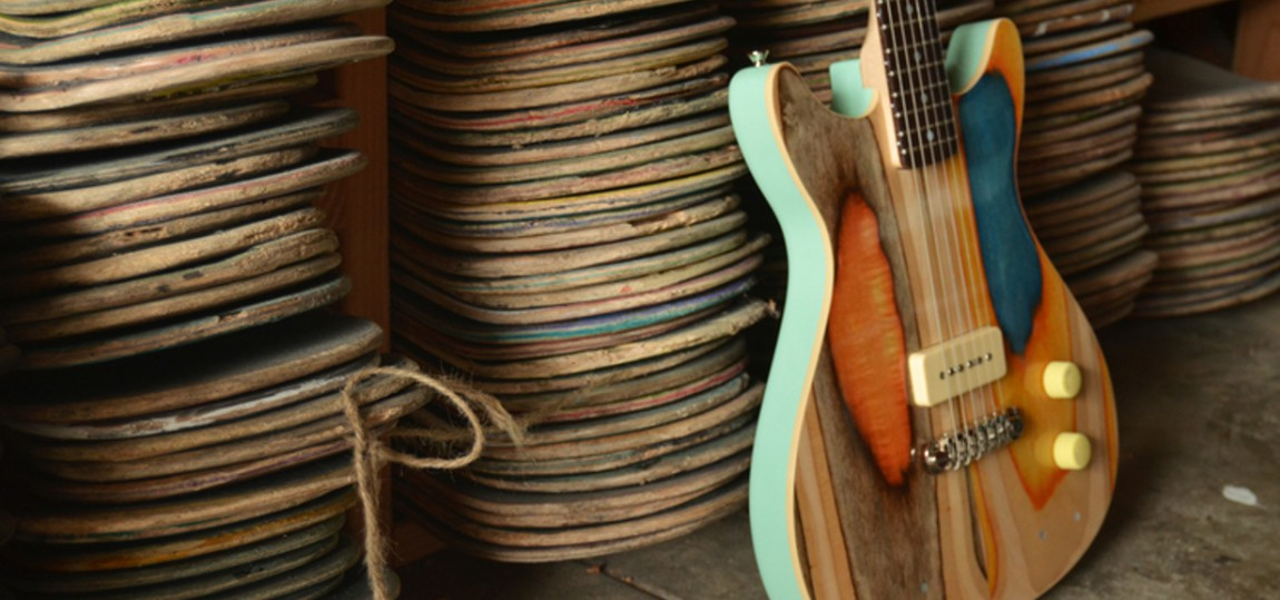 Diese Gitarren werden aus alten Skateboards handgefertigt