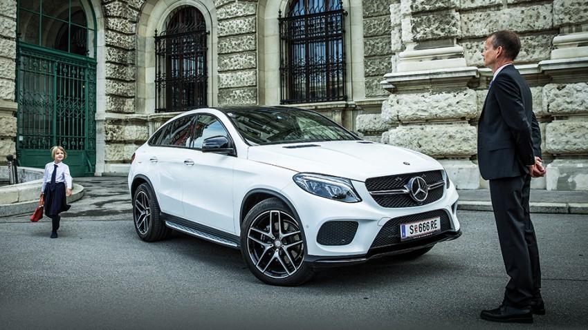 Mercedes-Benz GLE Coupé weiß 2015 front vorne seite 21 zoll felgen