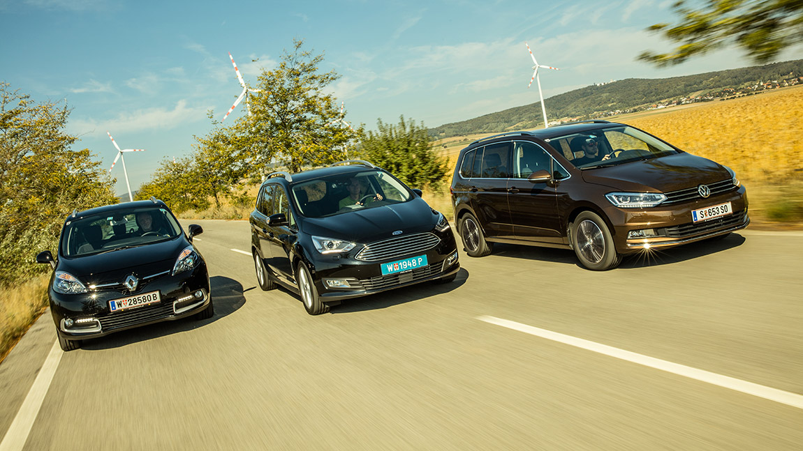 Vw Touran Vs Ford Grand C Max Vs Renault Grand Sc 233 Nic